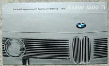 BMW 1800TI Car Sales Brochure 1964-65 #W267e 120 8.64