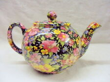 Black Meadow chintz design 2 cup teapot by Heron Cross Pottery