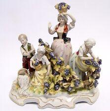 Porzellanfigur Figurengruppe Porzellan Figur Traubenlese Weinlese Traubenernte