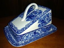 Antique George Jones ABBEY 1790 Flow Blue Staffordshire Transferware Cheese Dish