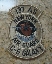 USAF PATCH, 137TH AIR LIFT SQUADRON, NY , DESERT,BROWN APPLE,  WITH VELCRO