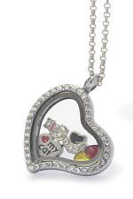 ORIGAMI-STYLE Cat Lover I Heart My Cat Floating Charm Heart Locket Necklace