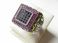 925 Sterling Silver Ottoman Black Zircon Ruby Stone Handmade Men's Ring Sz 11.5
