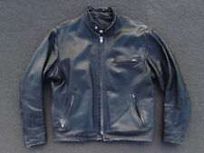 Vintage Schott Distressed Cafe Racer Leather Jacket Size 44 Black Moto Coat