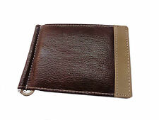 ALW Genuine Leather ATM Debit Credit Card holder with money clipper - Brown