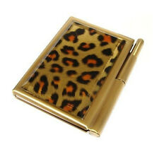 Luxury Notebook Set Leonardo Savannah Journal Pen Glass Front Gold Leopard Print