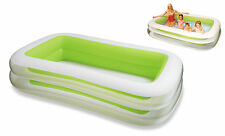 INTEX LARGE RECTANGULAR FAMILY SWIMMING PADDLING POOL OUTSIDE WATER FUN NEW