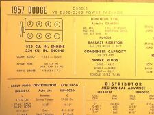 1957 Dodge D500 & Power Package 325 354 V8 SUN Tune Up Chart Superb Condition!