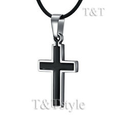 Quality TT Stainless Steel Two-Tone Black Cross Pendant Necklace (CP98)