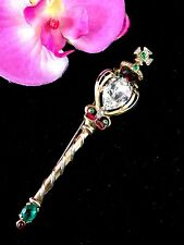 1953 TRIFARI BRITISH CROWN JEWELS CORONATION GEMS RHINESTONE SCEPTER BROOCH