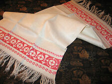 Beautiful Redwork Woven Damask FRENCH CHATEAU Antique SHOW Towel c1900