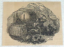 1832 small magazine engraving ~ COAL MINER with coal basket