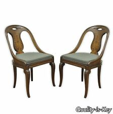 Pair of Vintage Regency Style Italian Walnut Saber Leg Slipper Accent Chairs