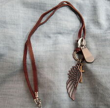 Mens HARLEY ANGEL WING CROSS LEATHER CORD Zipper Surfer Choker Pendant NECKLACE