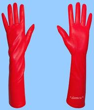 NEW size 7.5 SILK LINED LONG RED GENUINE LAMBSKIN LEATHER GLOVES