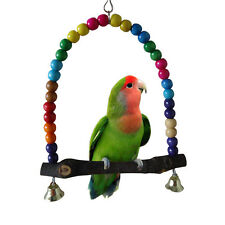 Colorful Wooden Bird Swing Toy Parakeet Cockatiel Hanging Best Gifts For Parrot
