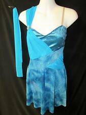 NEW!  GORGEOUS TEAL LYCRA/VELVET DANCE BALLET COSTUME ~ MEDIUM ADULT