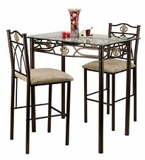 Small Kitchen Table Set 3 Piece Glass Top Bistro Dining Chairs Counter Stool New