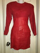 ��VINTAGE 80'S VAKKO GENUINE LAMBSKIN SUEDE /LEATHER RED Layered DRESS sz 6 USA