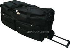"36"" Black 1200D Heavy Duty Polyester Jumbo Rolling Wheeled Duffle Bag / Luggage"