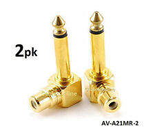 "2-PACK RCA Female Jack to 1/4"" Mono Male Plug Right Angle Gold Audio Adapter"