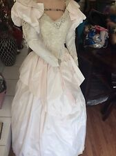 Wedding Gown vintage $5000Victorian style 2/6custom-made pale pink taffeta train