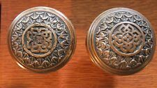 Antique Fancy Cast Bronze Domed Doorknobs Door Knobs c1885 by Norwich D-131 Rare