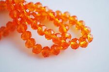 30Pcs Orange Crystal Glass Faceted Rondelle Beads 8mm Spacer Finding Charms