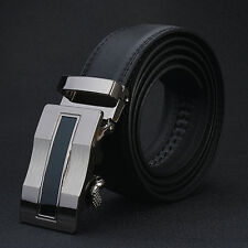 Cool  Men's Genuine Leather Belts Black Luxury Style Buckle  Strap Solid Belt