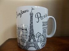 222 FIFTH~BONJOUR PARIS~BLACK WHITE~SET OF 3 JUMBO  24 oz  COFFEE MUGS~NEW