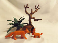Playmobil Fox Family w/ Babies, Log Den, Plants for Zoo, Wilderness, Ark Animals