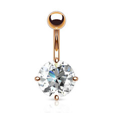 ROSE GOLD Plated BIG Clear CZ BELLY Button NAVEL Bar RINGS Stud Piercing Jewelry
