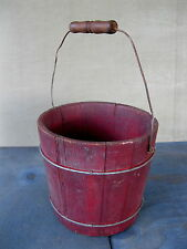 "Antique Bucket Firkin Small 6-1/2"" Pail Old Red Paint Wood Primitive Wire Bands"