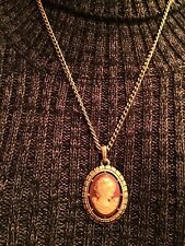 "Vintage Avon Cameo Pendant Reversible Double Sided on Chain 24"" Chain"