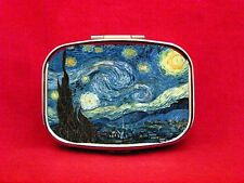 STARRY NIGHT ART PAINTING STARS MOON VAN GOGH METAL PILL MINT CASE