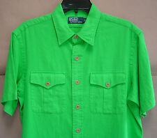 NWT $90 POLO RALPH LAUREN M Classic MILITARY LINEN COTTON SHIRT Green 7936628