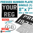 "8"" x 7"" SINGLE Black and Silver Pressed Metal Motorcycle Aluminium Number Plate"