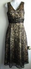 COLDWATER CREEK NWT $118 BLACK LACE GOLD BEIGE EMPIRE WAIST COCKTAIL DRESS SZ P8