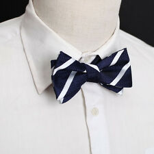 DBA7A06G Navy Stripes Gift For Shopstyle Microfiber Self-tied Bow Tie Dan Smith