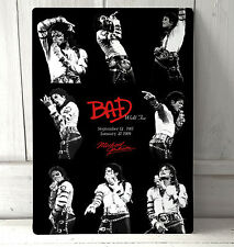 Michael Jackson King of Pop Bad tour memorabilia sign A4 metal plaque