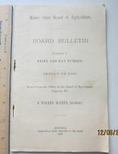 maine state  Board of Agriculture - bulletin dairy and hay number 1895