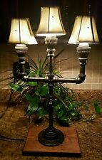 Handcrafted Industrial Pipe Lamp w/  3 nostolgic Lamp Shades, Assembled in USA