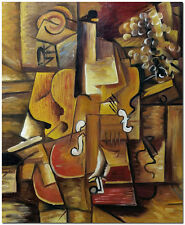 1912 Violon et raisin - Pablo Picasso Cubism Hand Painted Violin Oil Painting