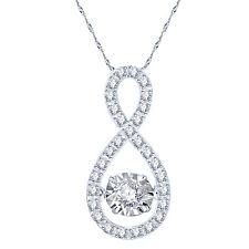 "Infinity VVS1 Dancing Diamond Pendant W/ 16"" Chain Necklace 10k White Gold Over"