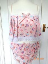 Mens camisole and panties knickers set, pink cupcake 38 inch, sissy frilly cd tv