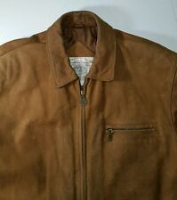 John Ashford Men's L Brown Leather Jacket Full Zipper Rancher Western Cowboy