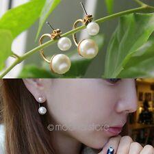 Aretes Doble Mujer oro Perla Imitación Pendientes Tribales Ear Studs Earrings