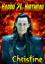 LOKI Thor/Avengers Tom Hiddleston Personalised Happy Birthday Greeting Art Card