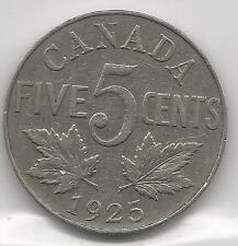 CANADA,  1925,  5 CENTS,  NICKEL,  KM#29,  VERY FINE  ( SCARCE DATE )