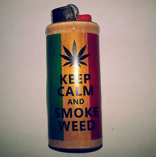 Keep Calm Smoke Weed Rasta BIC Lighter Case Weed Ganja Pot Holder Sleeve Cover